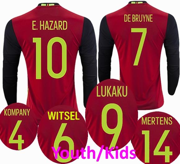 fd4a5c13e Youth 2016 2017 Long Sleeve Soccer Jerseys Home Belgium Benteke Mirallas  Hazard Kompany Lukaku Football shirt 16 17 Kids
