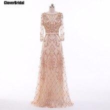 CloverBridal mangas compridas vestido de noche long sleeves