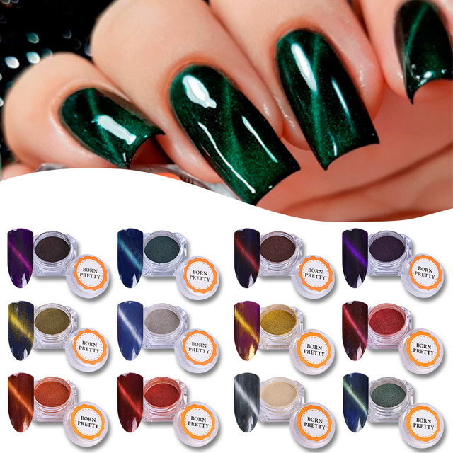 Multicolor Cat Eye Magnetic Nail Art Dip Powder Decoration Chameleon Mirror Effect Pigment