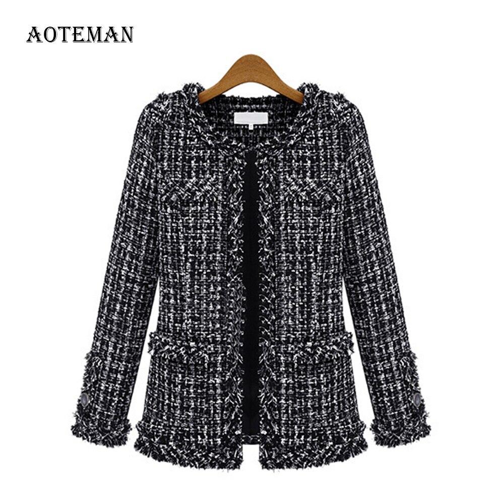 Autumn Winter Coat Women 2019 Elegant Slim Long Sleeve Plaid Coat Female Vintage Formal Plus Size Tassel Tweed Coats Black 4XL