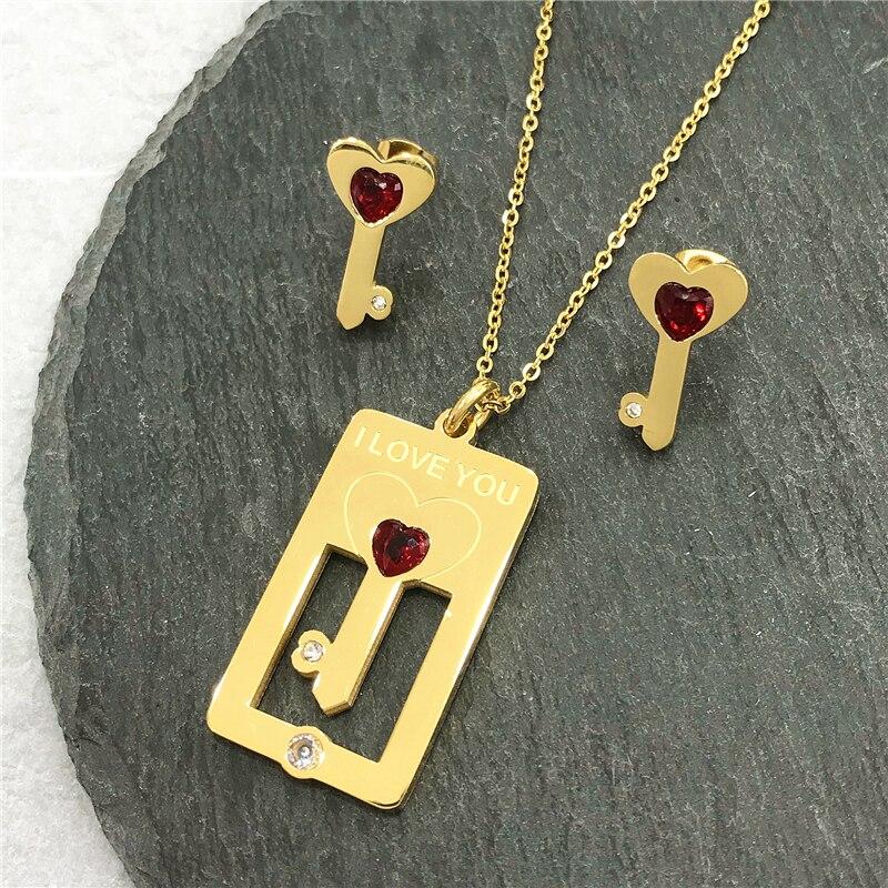 Pendant Necklace Earings-Set Jewellery Gift Heart-Choker Silver-Color Women New-Fashion