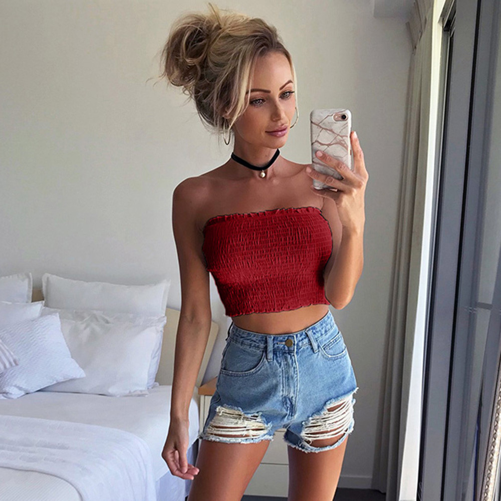 Tube Tops Women Summer Letter Print Boob Tube Tops Sexy Strapless Crop Top Off Shoulder Bandeau Top Ladies Streetwear Neon Green Wrap Top Women's Intimates