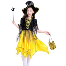 Hot Sale Halloween Dresses Children Kids Girls Cosplay Party Costume  Dress With Hat