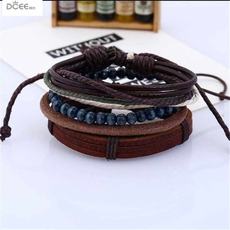 Natural Retro DIY Jewelry Suit Unisex Hand Woven Wooden Beads Bracelet 4pcs/set Bangles Male Decoration Manual Beaded Wristband