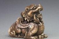 Китай Народная фэн шуй Бронзовый Foo Dog Лев пи Сю привлечь богатство зверь Статуя a5.19