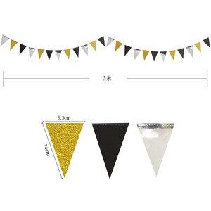 Image 5 - Праздничные золотые, серебряные, Треугольные флаги, подвесные украшения, блестящие, золотые, треугольные, для детских дней рождения, украшения для стен с цветами