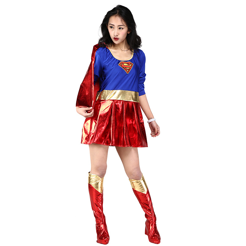 Supergirl Dress Adult Super Women Cosplay Costume Dress Shoe Covers Women's Halloween Carnival Party Costume Fancy Dress