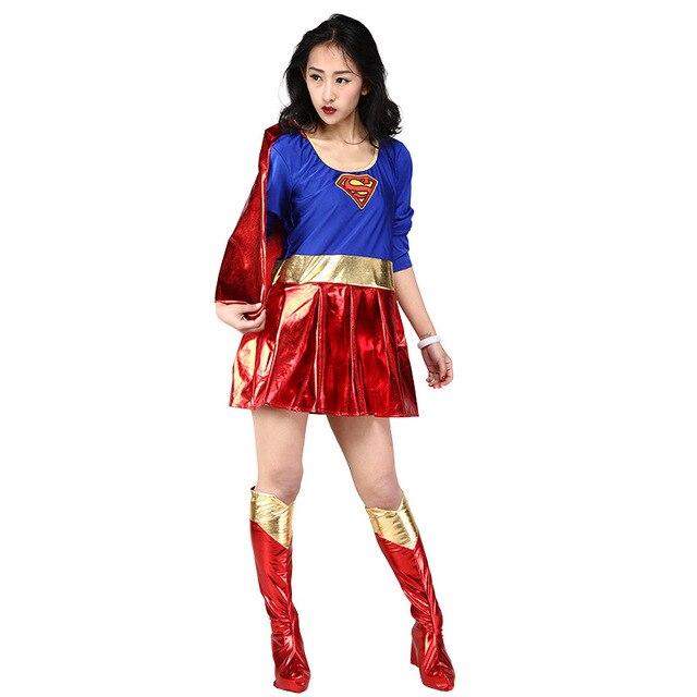 Supergirl Dress Adult Super Women Cosplay Costume Dress Shoe Covers Women s  Halloween Carnival Party Costume Fancy Dress 46297178f