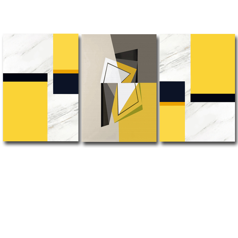 3 Panels/Set Modern Abstract Yellow Colors Oil Painting On Canvas Art  Picture Wall Art For Living Room Home Decoration Pictures