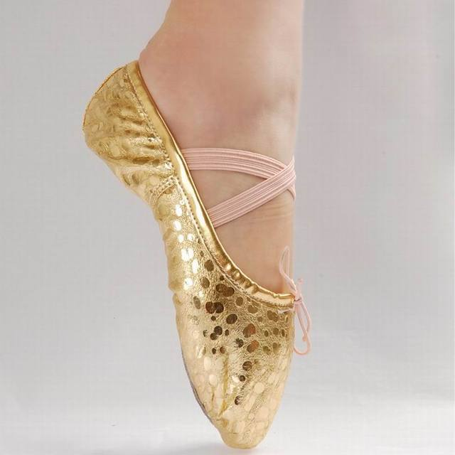 f71b7f7ded9 New Gold Silver Size 23~44 Children Soft Sole Girls Flats Shoes Women  Ballet Shoes For Kids Adult Ladies  F6225