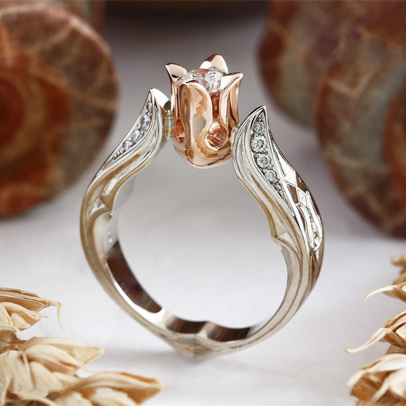 Modyle Finger-Rings Jewelry Flower Rose-Gold-Color Hot-Sale Women Leaves for Valentine's-Day-Gift