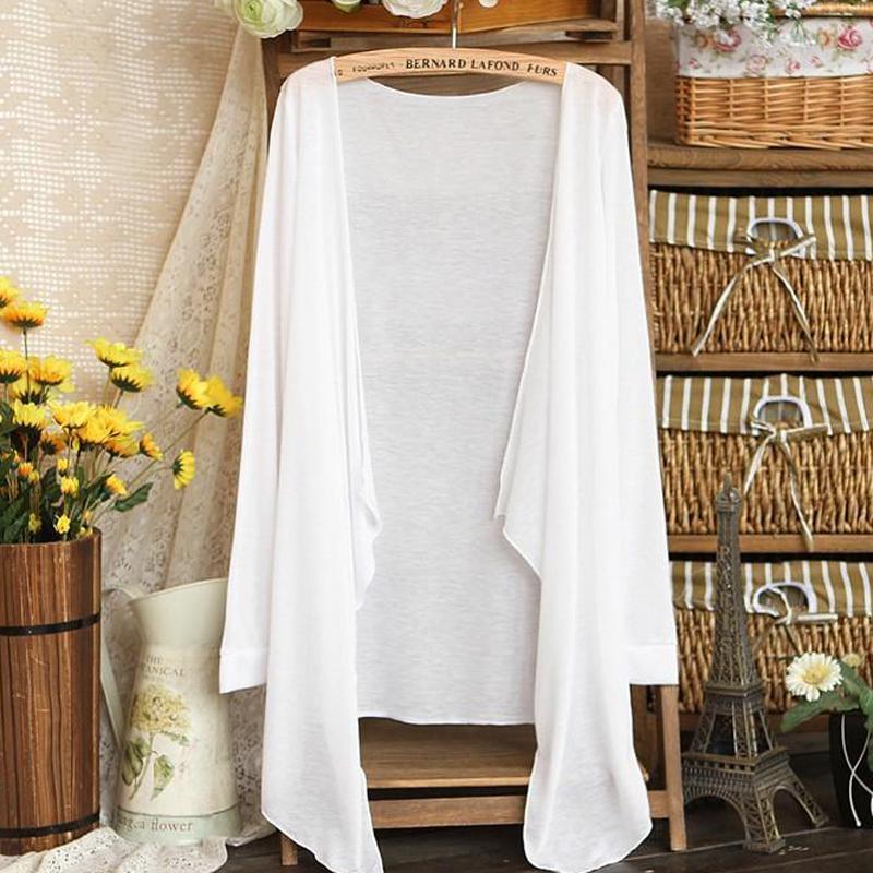 Summer Cardigan Female Long Sleeve Cardigans Top Casual Beach Office Ultra-thin Long Shawl Womens Thin Coat Knitwear