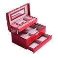 PROMOÇÃO de Luxo PU de Couro de Crocodilo de Grãos Jewelry Box 3 Camadas Jóias Caixa De Armazenamento Embalagem Caixa Organizer GF70754