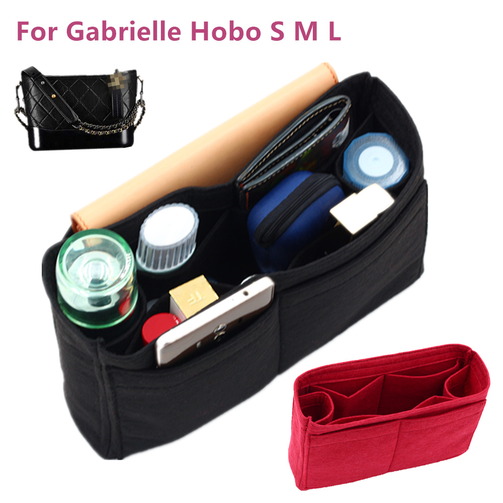 Fits Gabrielle Hobo Felt Cloth Insert Bag Organizer Makeup Handbag Shaper Organizer Travel Inner Purse Portable Cosmetic Bags