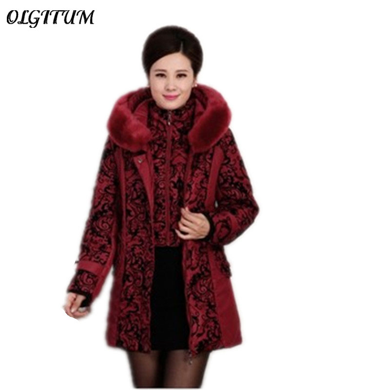 Hot!2019 new fashion winter jacket Women's clothing women large fur collar thick   parkas   with hooded down cotton coats plus size