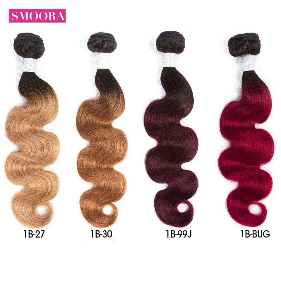 Smoora   Bundles Body Wave Ombre Hair Bundles 4Pcs Natural Black Dark Roots Blonde Brown Burgundy Red Non 2
