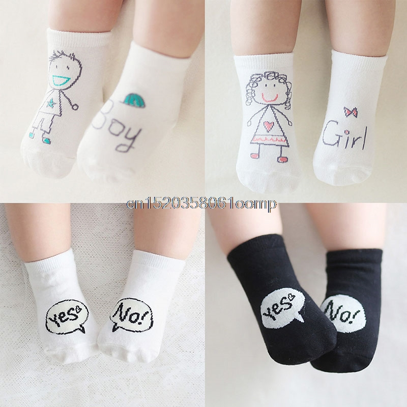 Cute Baby Socks Girl Boy Cartoon Cotton Socks Non-slip Infant Toddler Socks 0-4Y cute sunflower pattern baby non slip socks deep pink 1 pair