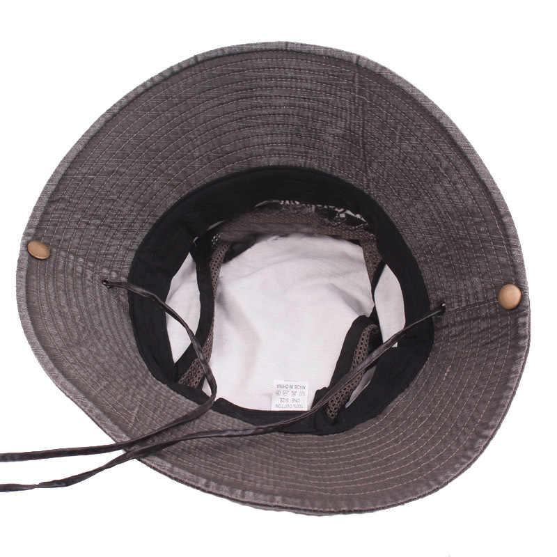 GEERSIDAN новый хлопок на лето и весну для мужчин ведро шапки Большой широкими полями Рыбалка Головные уборы для мужчин и женщин пеший Туризм сомбреро Gorro мужской защита от