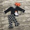 Conjuntos de roupas meninas do bebê do dia das bruxas roupas boutique meninas roupas fantasma branco polka dot ruffle pant com colar e arcos
