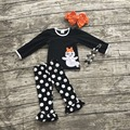 girls clothing sets baby halloween boutique outfits girls ghost outfits white polka dot ruffle pant with necklace and bows