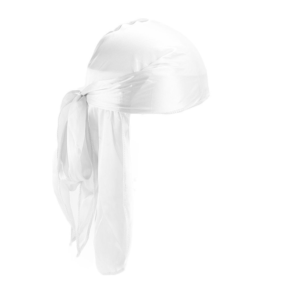 Durags Bandanas Stretchable Thin Pirate Riding Silky Casual Du-Rag Hair Accessories Turban Hat Biker Headwear Long Tail Headband