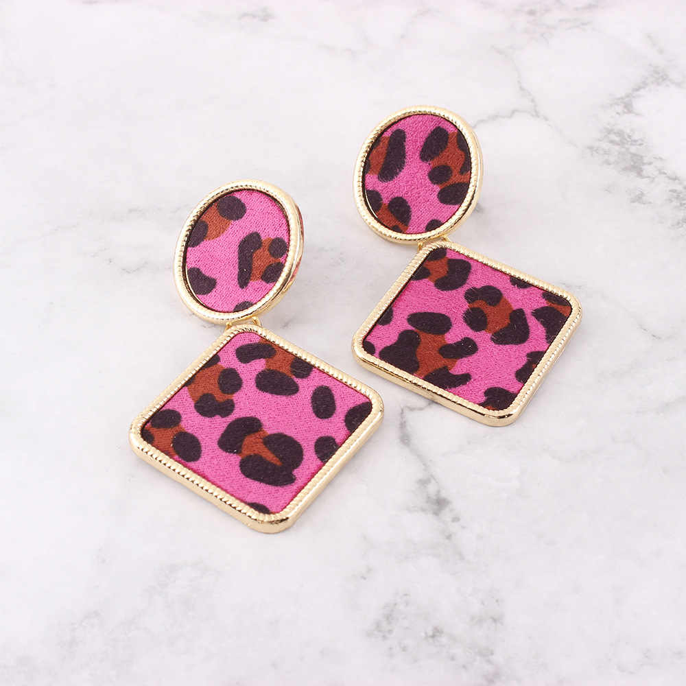 Vintage Za Geometric Round Square Drop Earrings for Women Ethnic Leopard Print Statement Dangle Earrings Fashion Party Jewelry