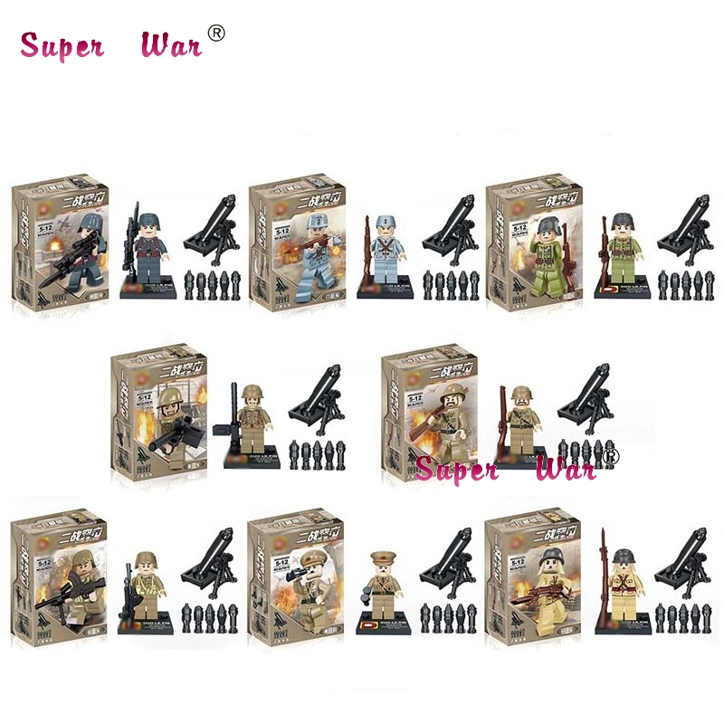 8pcs star wars super heroes World War 2 Military Army Soviet Soldier building blocks sets model bricks toys for children