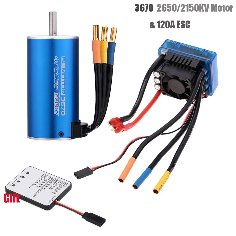 3670 2650KV 2150KV 1900KV 4 Poles Sensorless Brushless Motor With 120A ESC& LED Programming Card Combo Set For 1/8 RC Car Truck