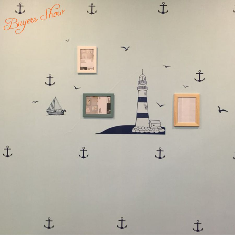 Set Of 28pcs Anchor Wall Decals Nautical Decor Boy Wall Decals Art Boat  Anchor Sailboat Anchor