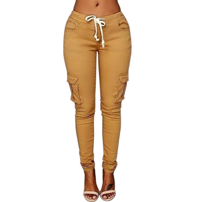 Women Drawstring Stretch Pencil Pants Casual Elastic Waist -6602