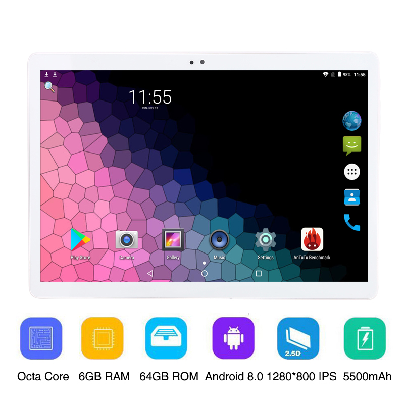 10.1 Inch Android 8.0 OS Tablet PC Octa Core 6GB RAM 64GB ROM 3G 4G Dual Sim Cards MT8752 1280*800 IPS WIFI 10 Inch Tablet Pc
