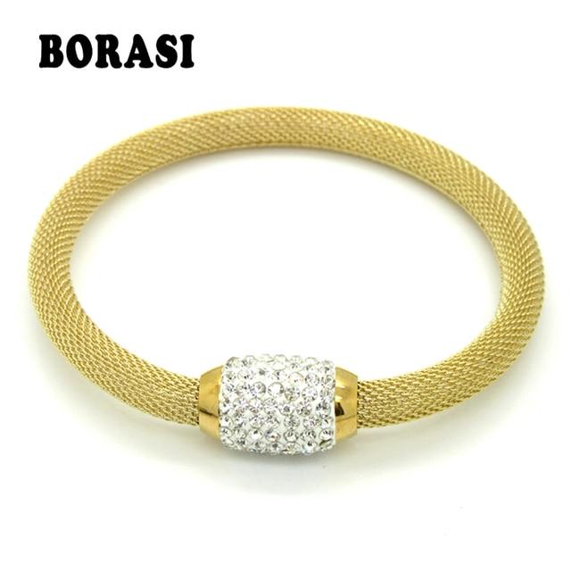 c6d801efe93d Nuevo diseñador de moda joyería Bijouterie pulseras de diamantes de  imitación para mujeres Acero inoxidable Cierre