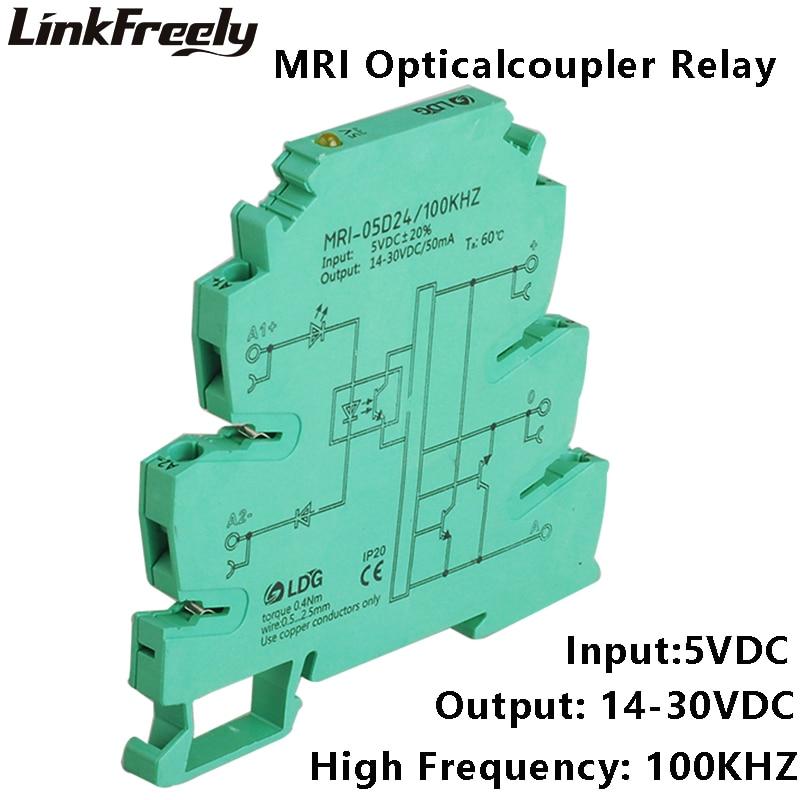 MRI-05D24 2pcs 100KHZ PLC LED Optical Coupler Relay 5VDC 8mA Input Output 14-30VDC 50mA Interface Voltage Relay Module DIN Rail цепочка