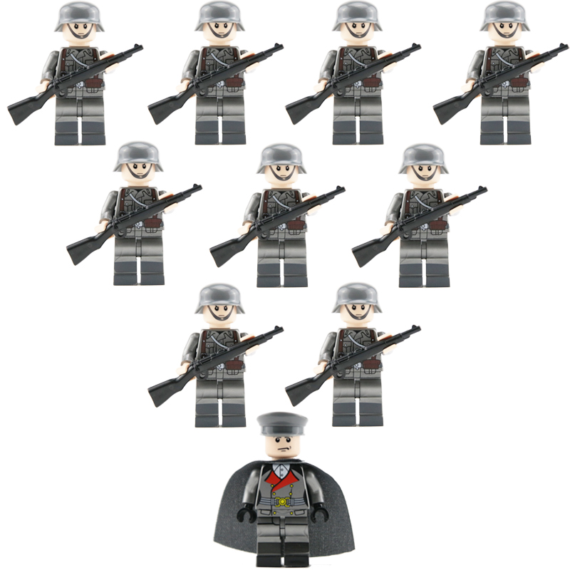 10PCS WW2 German Army 98k Rifle Soldiers Building Blocks Bricks Military Figures Weapons Guns Model Accessories Brick Block Toys