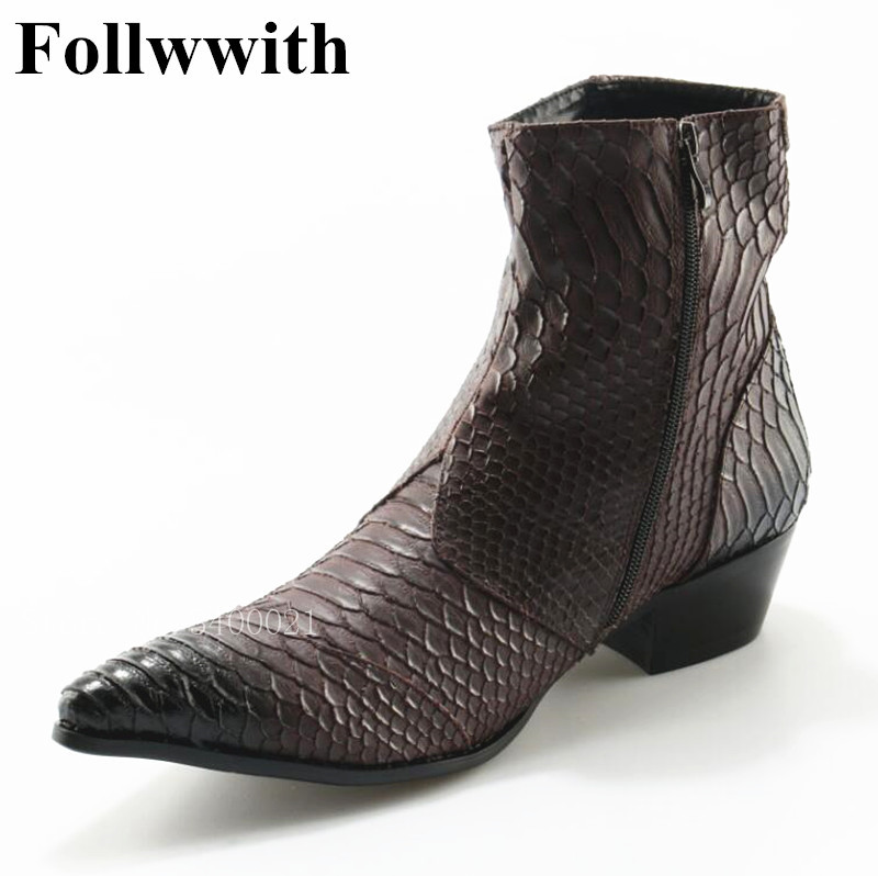 2018 Follwwith Brand Alligator Snakeskin Leathter Cool Trainers Zapatillas Shoes Mens Mid-Calf Chelsea Boots Side Zipper Shoes 2017brand sport mesh men running shoes athletic sneakers air breath increased within zapatillas deportivas trainers couple shoes