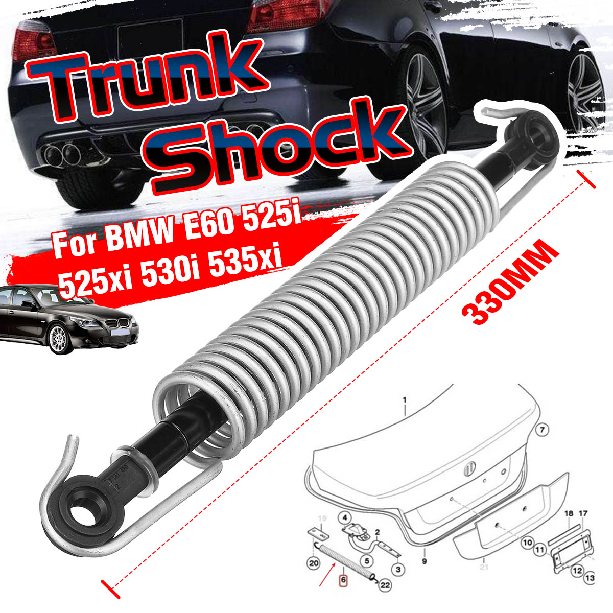 Car Trunk Shock Lid Lifting Spring W/ Shock Absorber Rear Trunk Lid Holder For BMW 5 SERIES E60 525i 525xi 530i 51247141490