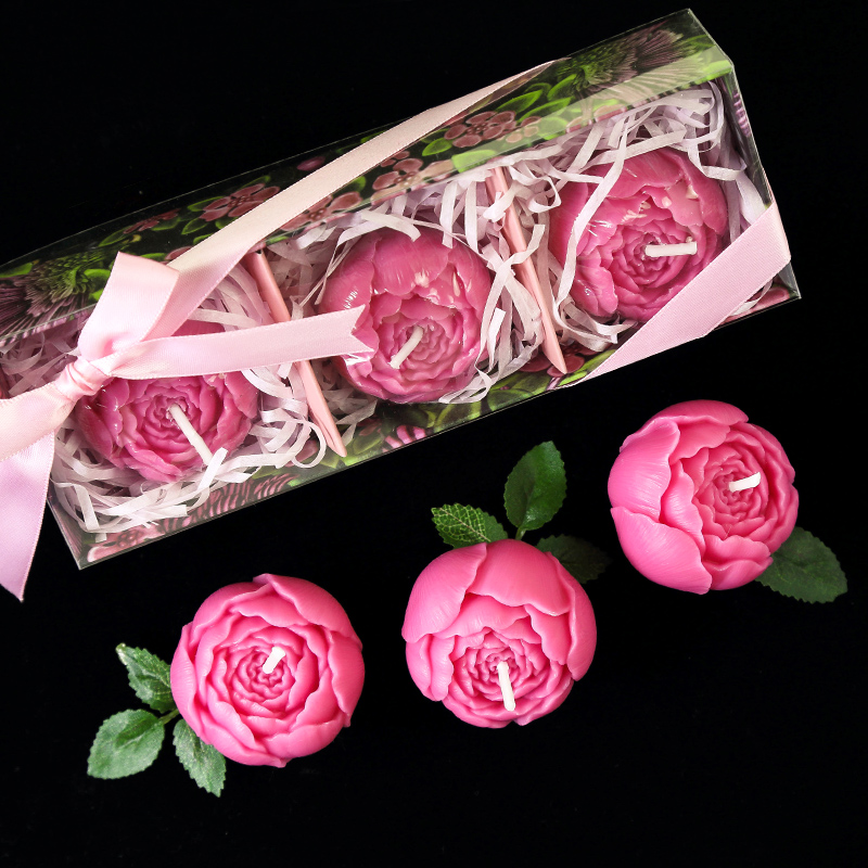 Party Weddings Birthday Candles Gift Peony Flower Rose Wedding Decoration Scented Centerpieces