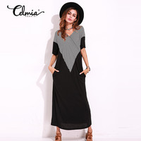 Summer Fashio Maxi Long Dress Women Striped Casual Ruffle Short Sleeve Plus Size Floor Length Dresses