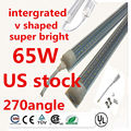 20pcs intergrated v shaped led tube light t8 8ft 2400mm 65w led fluorescent lamp