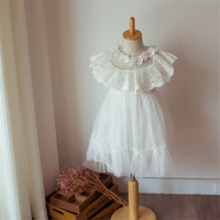Girls Dress Summer 2017 Costume Casual Kids Dress 2 7years Solid White Color Lace Princess Baby