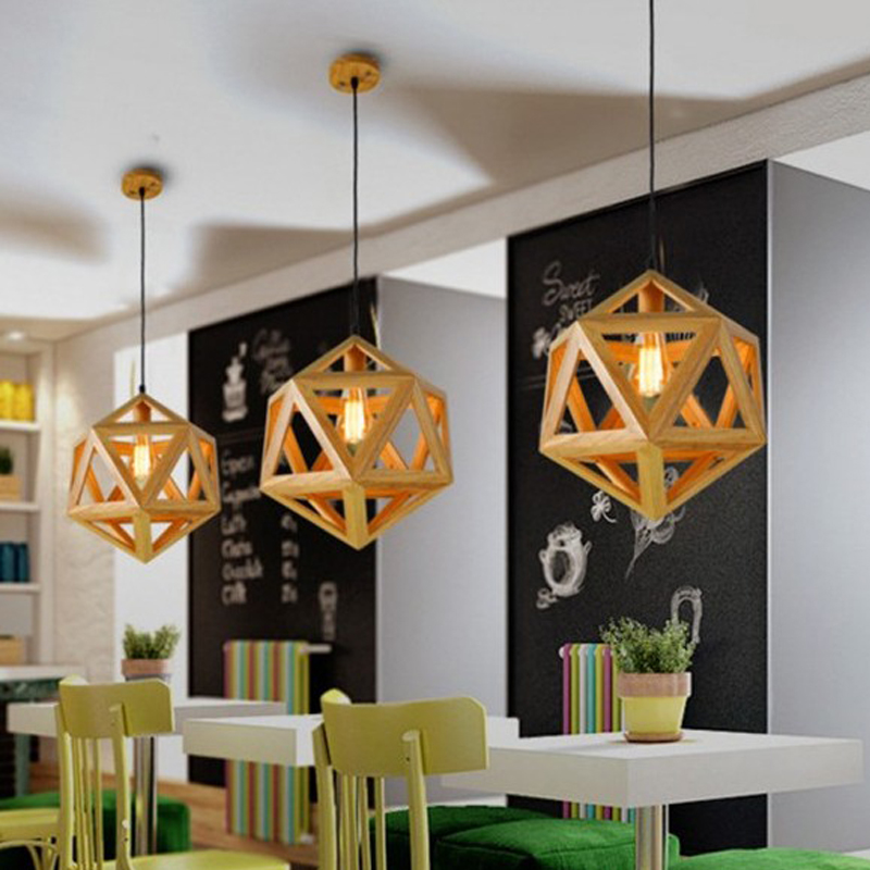 Modern Nordic Geometric Solid Wood Pendant Lights Bar Bar Cafe Restaurant Home Lamps With E27