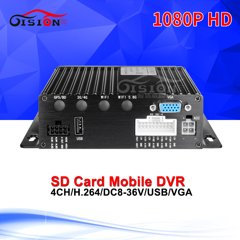 Free Shipping SD Card Mobile Dvr 1080P AHD Video Recorder 4CH Video/Audio Input VGA Output CCTV Security System Vehicle Car Dvr linux system h 264 4ch video audio input gps cctv vehicle ahd mobile dvr with 4g network remote monitoring real time