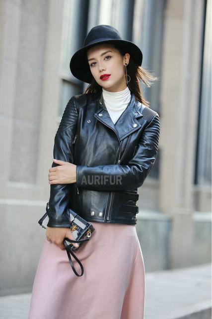 2017 Nova Decoração Zipper Das Mulheres Jaquetas de Couro de Ovelha Senhoras AU00875 Streetwear Preto Turn-down Gola do Casaco de Couro Genuíno