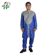 African Clothing Two-2piece-Set Suits Tops Dashiki Men H--D Pant Embroidery Wedding-Party-Attire