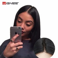 Wignee Lace Front Synthetic Wigs For Women Natural Black Straight Hair Middle Part Bob Wig 3 Combs Heat Resistant Fake Hair Wig