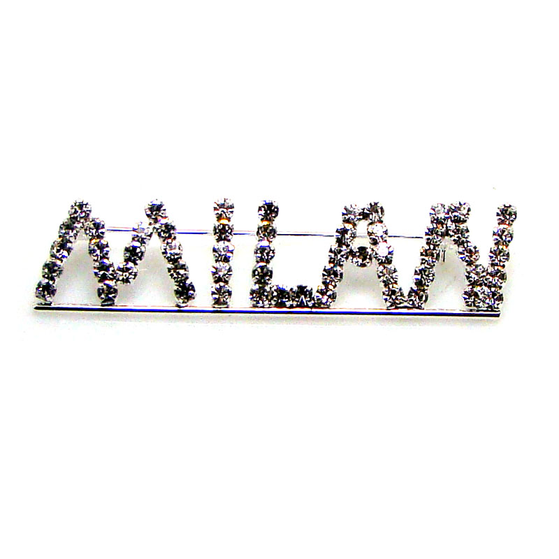 New Custom made designer gift rhinestone promotional MILAN fashion letter word pin brooch ornament jewelry accessories 3pcs x
