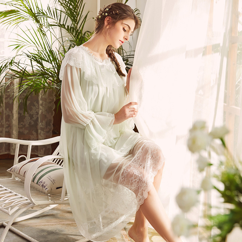 Hot French Princess Royal Style Elegant Sexy Lace Modal Clothes Retro Sweet Girl Dress Women Long Nightdress Nightgown Sleepwear