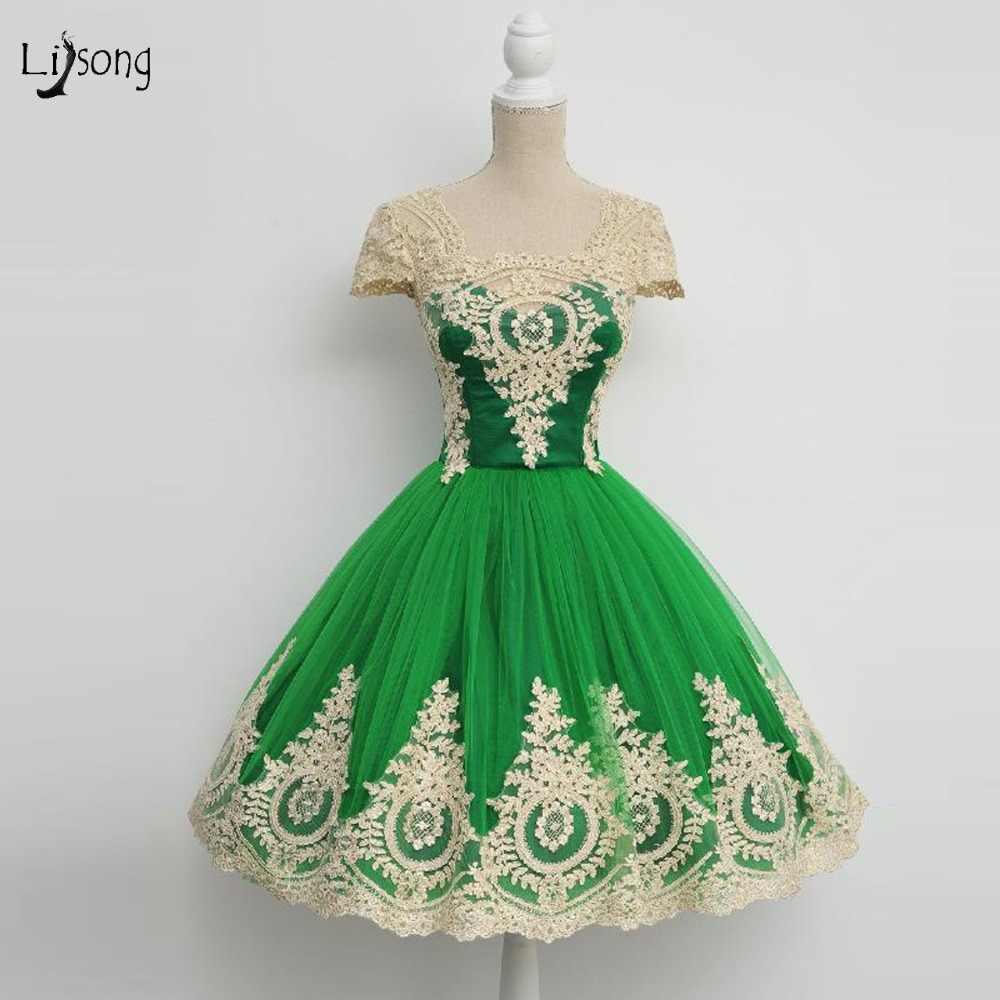 4316efa812e06 Pretty Green Lace Homecoming Dresses Lace Appliques Tutu Graduation Dresses  Knee Length Prom Gowns Vestido De Formatura