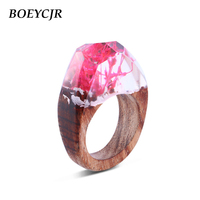 BOEYCJR White Color Wood Resin Rings Fashion Jewelry Pink Algae in the Glass Novel Wood Rings for Women For Christmas Gift 2018