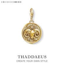 Signo del zodiaco Aries encanto para los hombres y las mujeres de moda de plata esterlina 925-joyería de oro de color ajuste el collar pulsera llavero con cadena para el teléfono